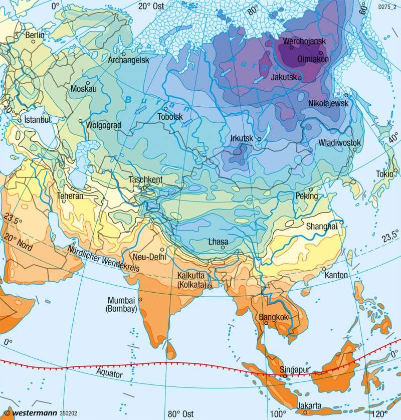 Asien | Temperaturen im Januar | Asien - Klima und Landwirtschaft | Karte 164/1