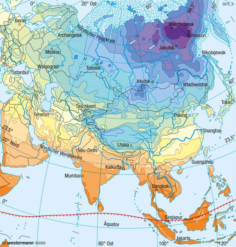 Asien | Temperaturen im Januar | Klima | Karte 112/1