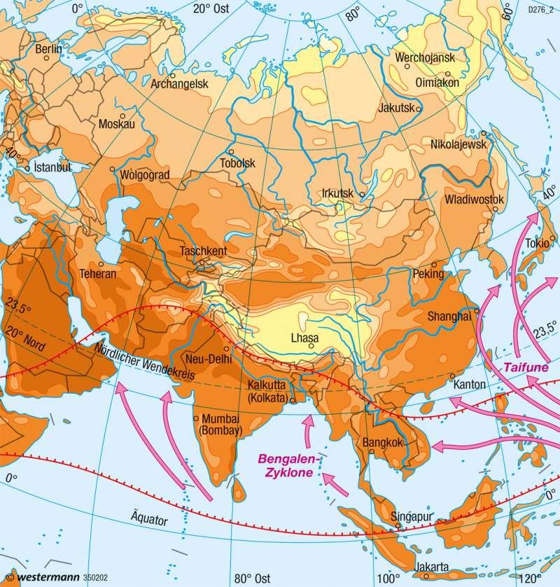 Asien | Temperaturen im Juli | Asien - Klima und Landwirtschaft | Karte 164/2