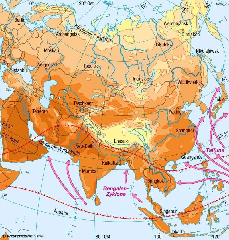 Asien | Temperaturen im Juli | Klima | Karte 112/2
