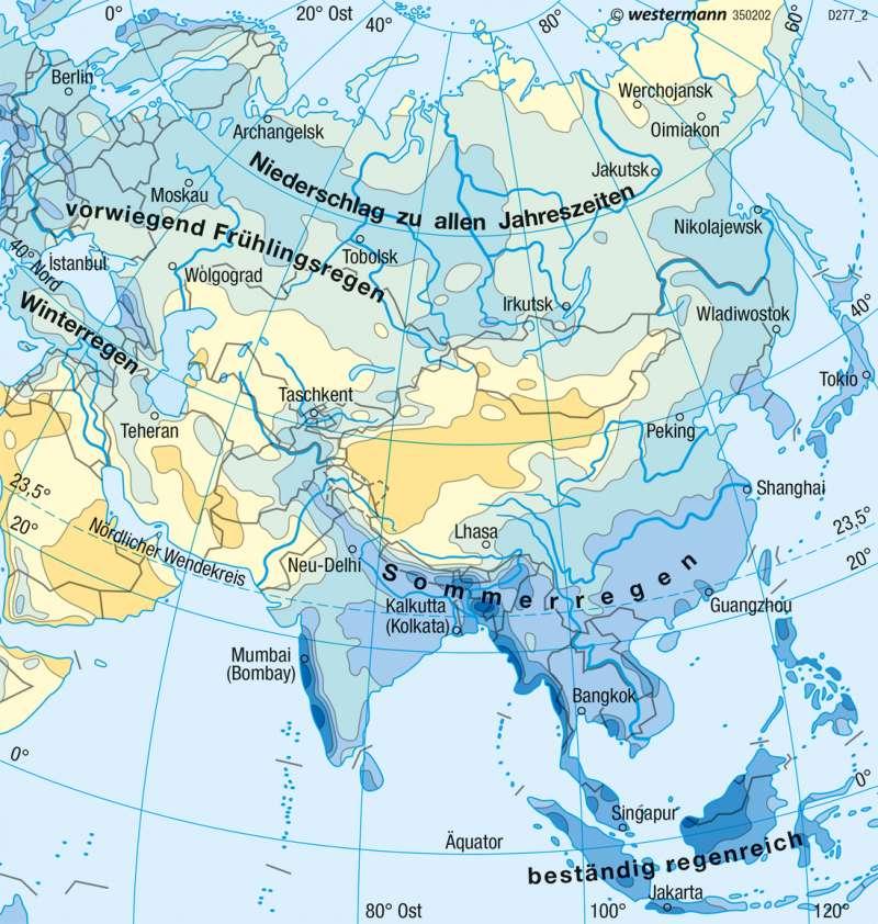 Asien | Niederschläge im Jahr | Asien - Klima und Landwirtschaft | Karte 164/3