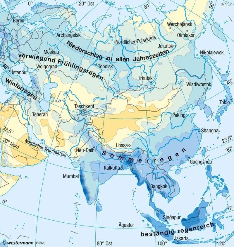Asien   Niederschläge im Jahr   Klima   Karte 112/3