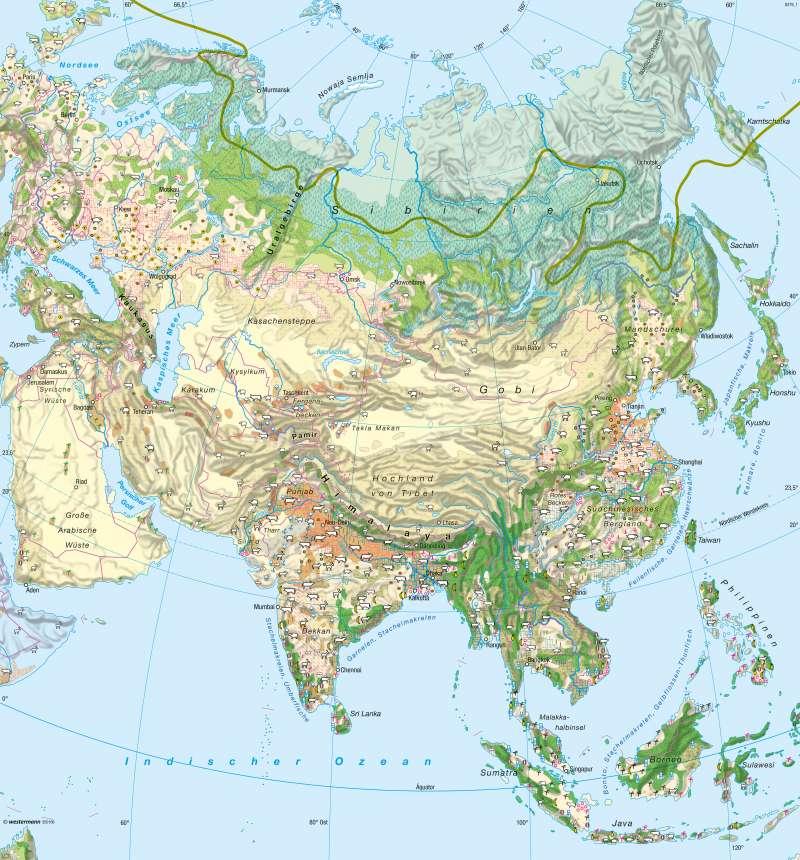 Asien | Landwirtschaft | Asien - Klima und Landwirtschaft | Karte 164/5