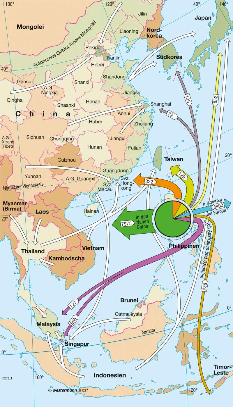 Asiatisch-Pazifischer Wirtschaftsraum | Arbeitsmigration | Asiatisch-Pazifischer Wirtschaftsraum | Karte 167/3