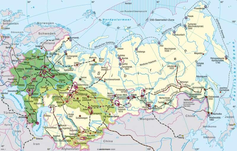 Sibirien | Erschließung | Nord- und Zentralasien - Räume im Wandel | Karte 172/1