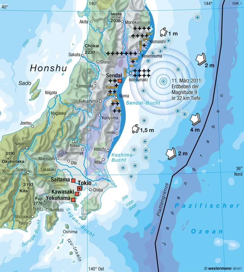 Japan | Tohoku-Beben mit Tsunami (11.3.2011) | Erde - Naturrisiken und Verwundbarkeit | Karte 253/4