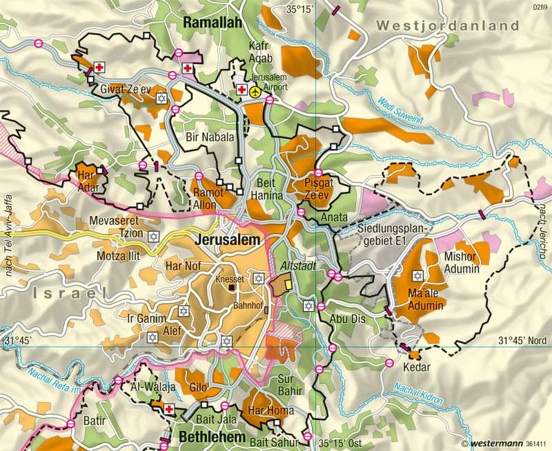 Jerusalem Karte Deutsch.Diercke Weltatlas Kartenansicht Jerusalem Großraum 978 3 14