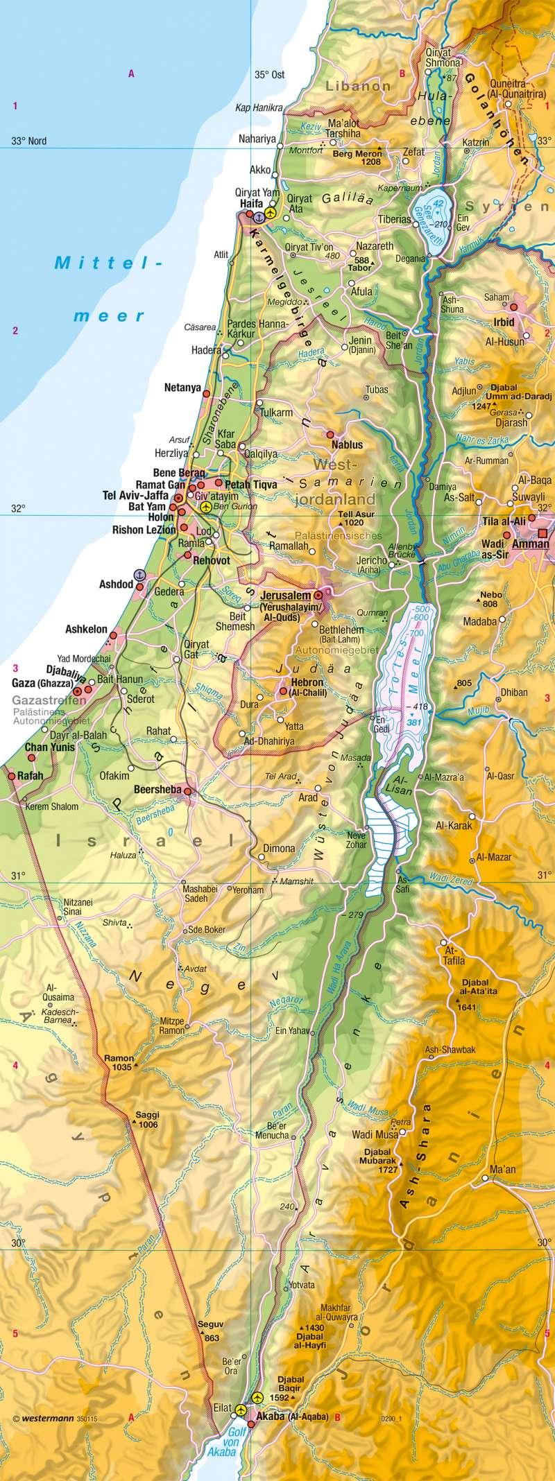 Israel Karte.Diercke Weltatlas Kartenansicht Naher Osten Israel Physische