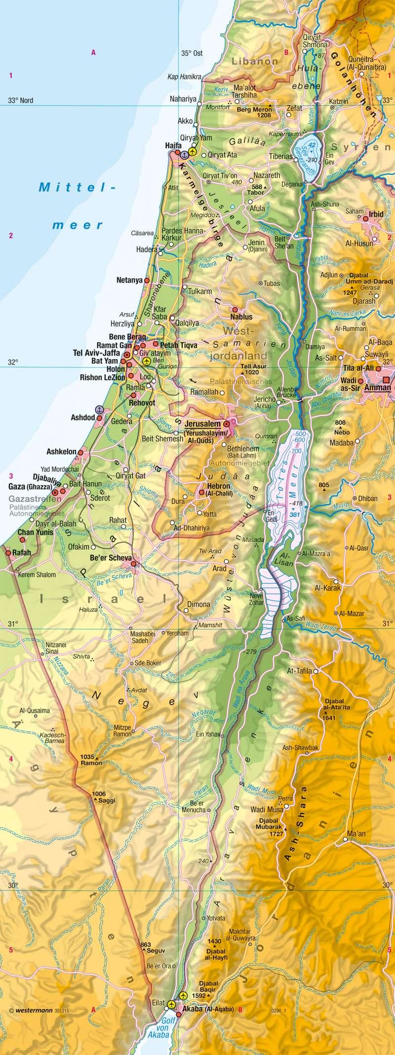 Israel und Palästinensische Gebiete | Physische Übersicht |  | Karte 126/1