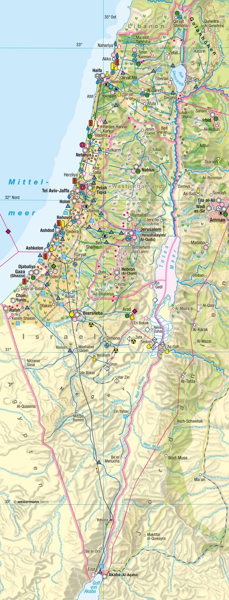 Israel Karte.Diercke Weltatlas Kartenansicht Naher Osten Israel