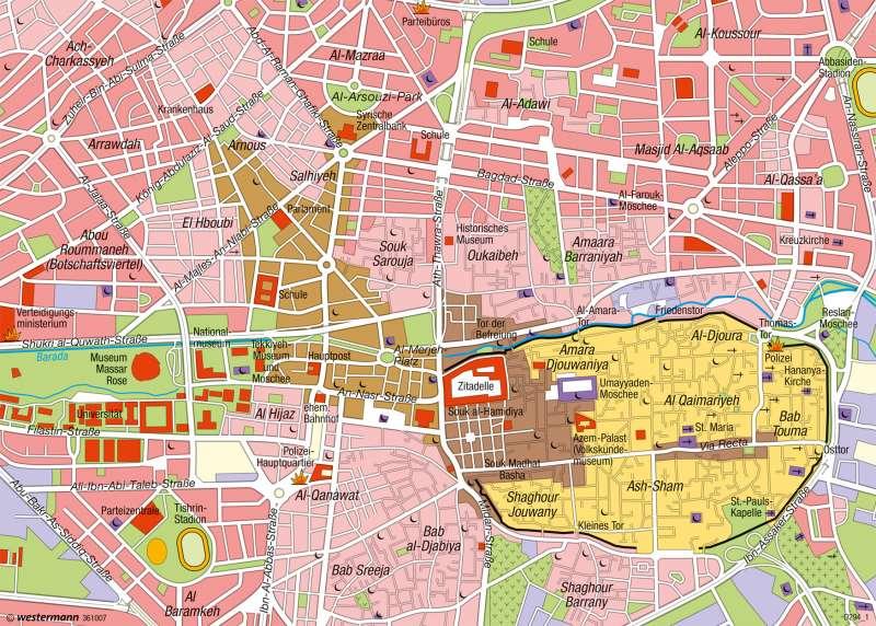 Syrien Karte Mit Städten.Diercke Weltatlas Kartenansicht Damaskus Orientalische Stadt