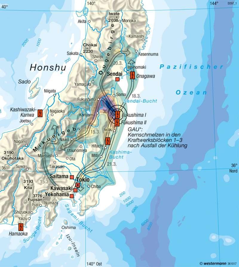 Diercke Weltatlas Kartenansicht Fukushima Nuklearkatastrophe