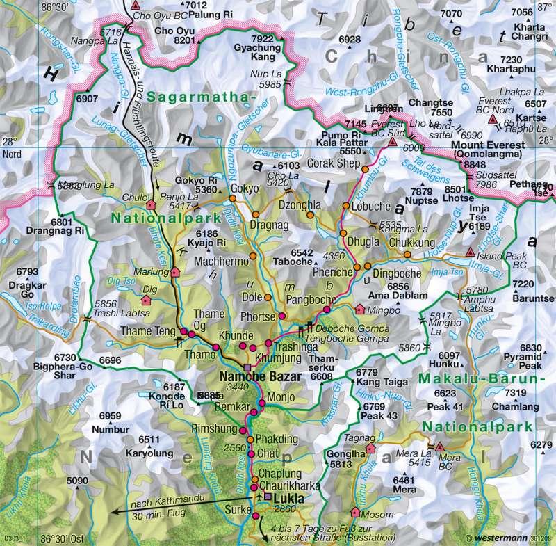 Himalaya | Tourismus am Mount Everest | Südasien - Vielfalt der Raumstrukturen | Karte 183/5