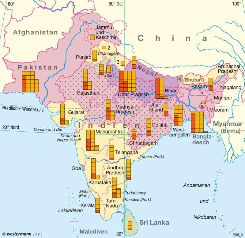 Südasien | Entwicklungsunterschiede | Entwicklung | Karte 115/2