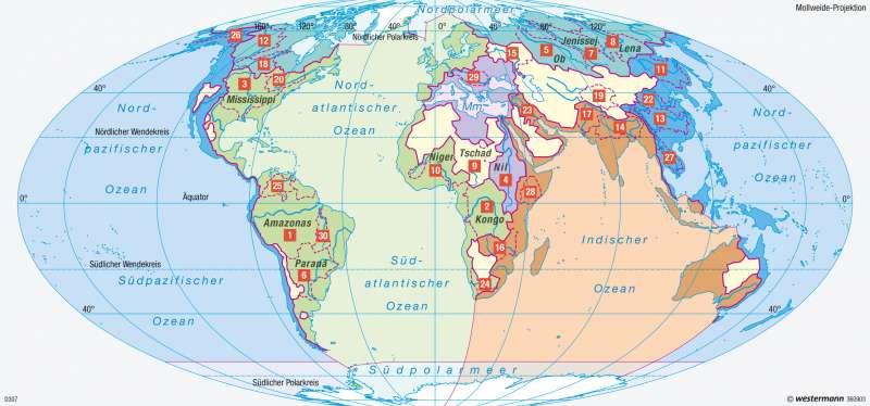Erde | Weltmeere und Flusseinzugsgebiete | Erde - Klimadynamik und Weltmeere | Karte 251/4