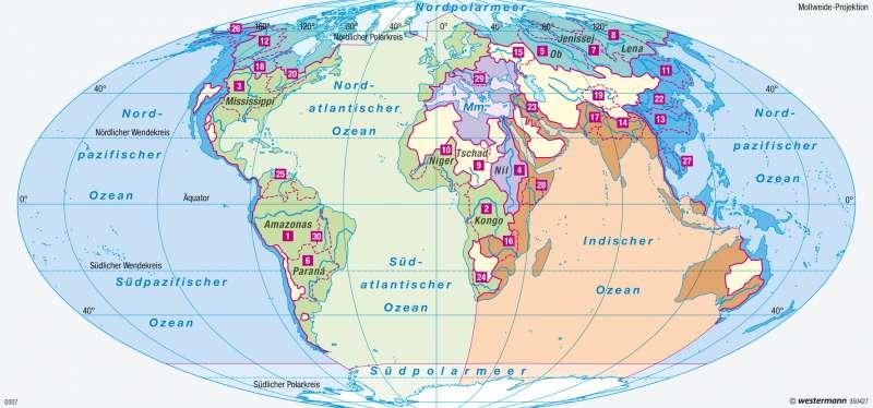 Weltmeere | Weltmeere und Flusseinzugsgebiete | Weltmeere | Karte 183/3