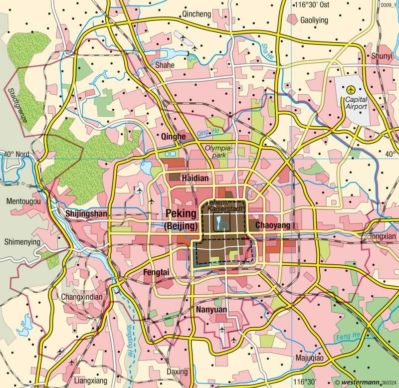 Peking (Beijing) | Verstädterung | China - Raum- und Siedlungsentwicklung | Karte 188/1