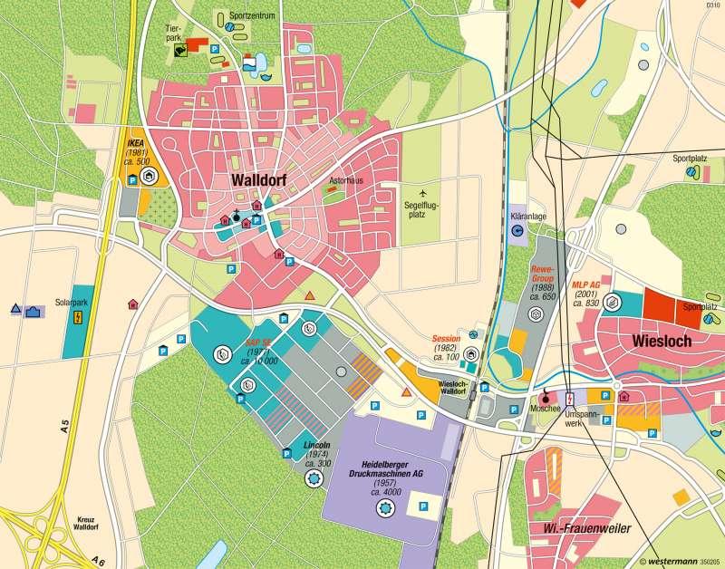 Walldorf | Suburbaner Raum | Wirtschaftsraum Rhein-Neckar - Dezentrale Konzentration | Karte 47/3