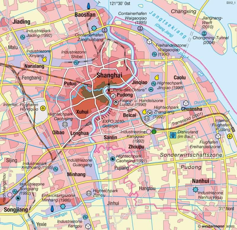 Shanghai | Wirtschaftsmetropole | China - Raum- und Siedlungsentwicklung | Karte 189/4