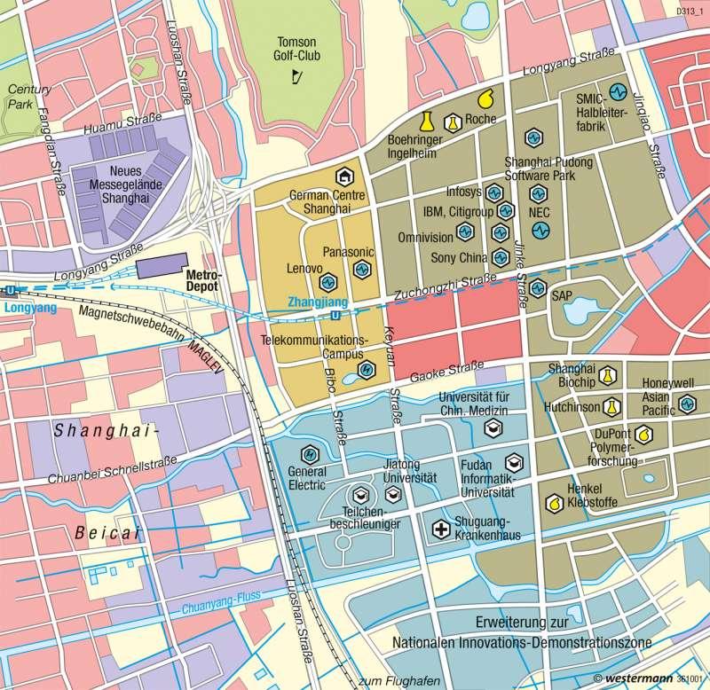 Pudong | Hightech-Park Zhangjiang | China - Raum- und Siedlungsentwicklung | Karte 189/5