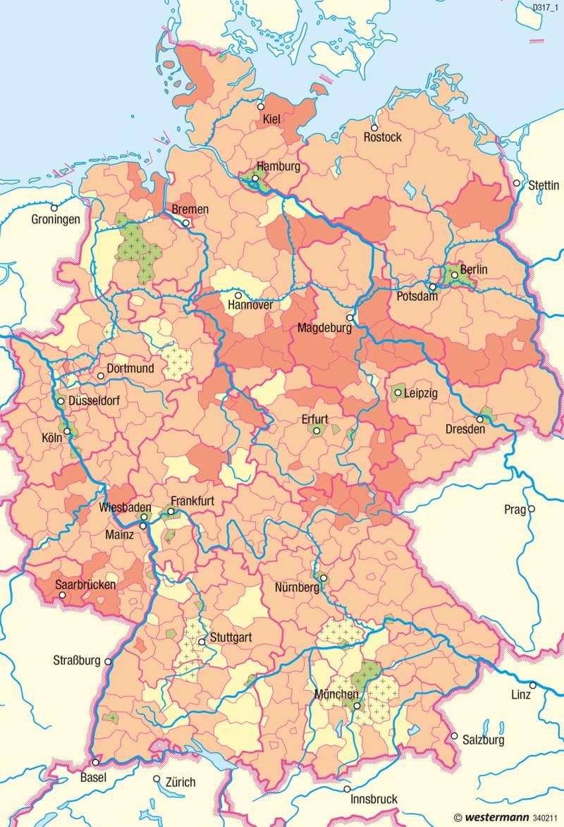 Deutschland | Natürliche Bevölkerungsveränderung | Bevölkerung und Migration | Karte 50/3