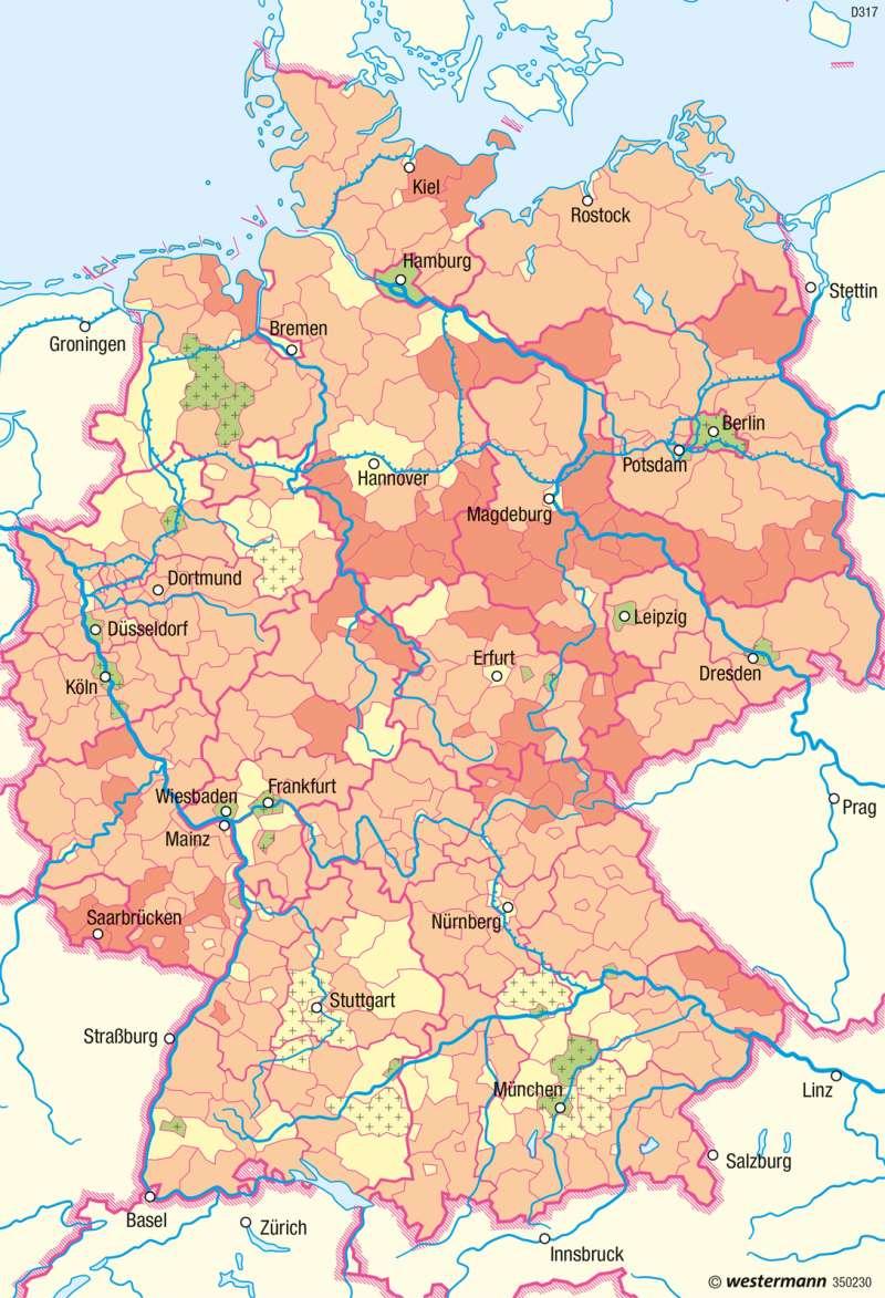 Deutschland | Natürliche Bevölkerungsveränderung | Deutschland - Bevölkerungsstruktur und -dynamik | Karte 80/2