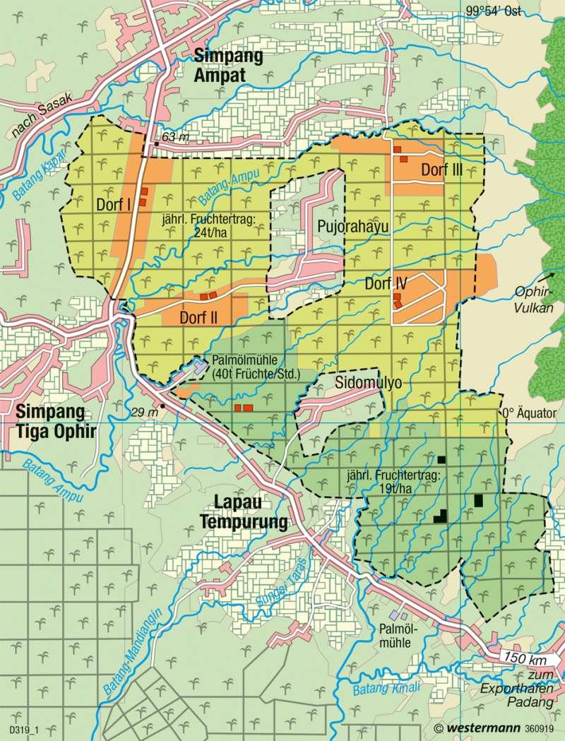 Ophir (Westsumatra) | Ölpalmenplantage | Singapur, Indonesien - Global orientiertes Wachstum | Karte 193/4