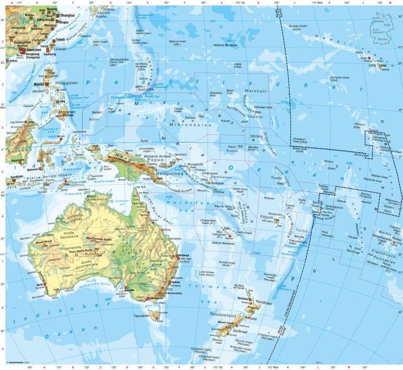Australien und Ozeanien | Physische Übersicht | Australien und Ozeanien - Physische Übersicht | Karte 198/1
