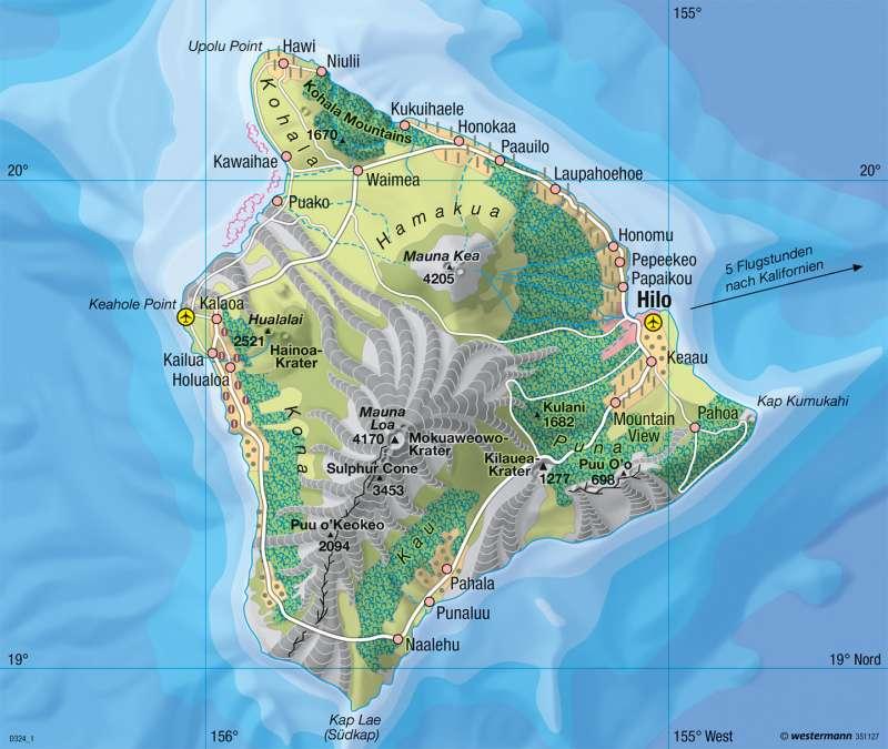 Hawaii | Vulkaninsel | Physische Übersicht | Karte 139/2
