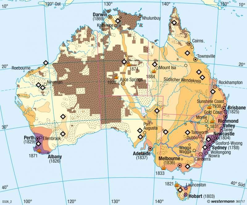 Australien | Ureinwohner und Einwanderung | Australien - Räumliche Erschließung und physische Karte | Karte 200/1