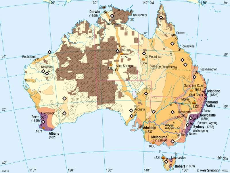 Australien | Ureinwohner und Einwanderung | Bevölkerung und Umwelt | Karte 140/1