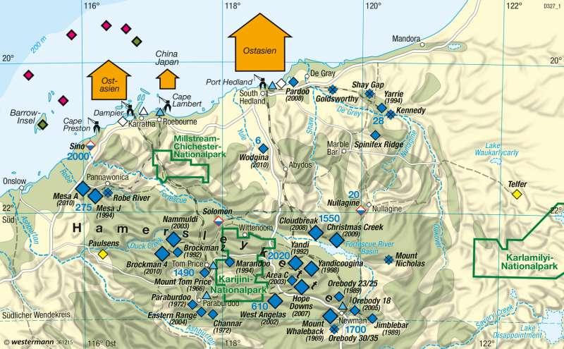Pilbara (Nordwestaustralien) | Eisenerzrevier | Australien - Räumliche Erschließung und physische Karte | Karte 200/2