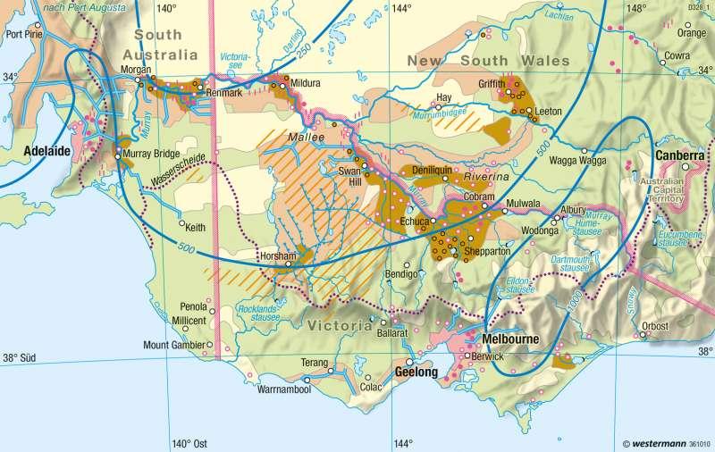 Südostaustralien | Wasserversorgung | Australien - Räumliche Erschließung und physische Karte | Karte 200/3