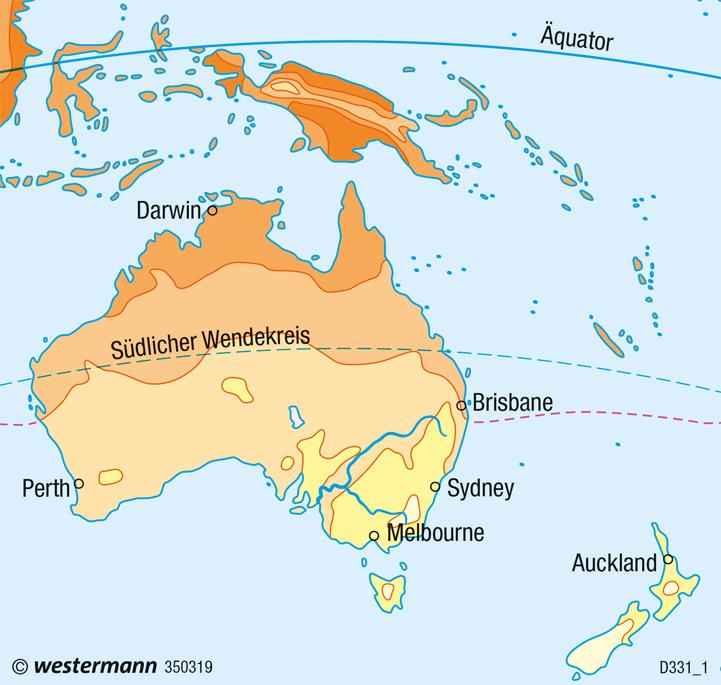 Australien, Neuseeland | Temperaturen im Juli | Wirtschaft und Klima | Karte 142/3