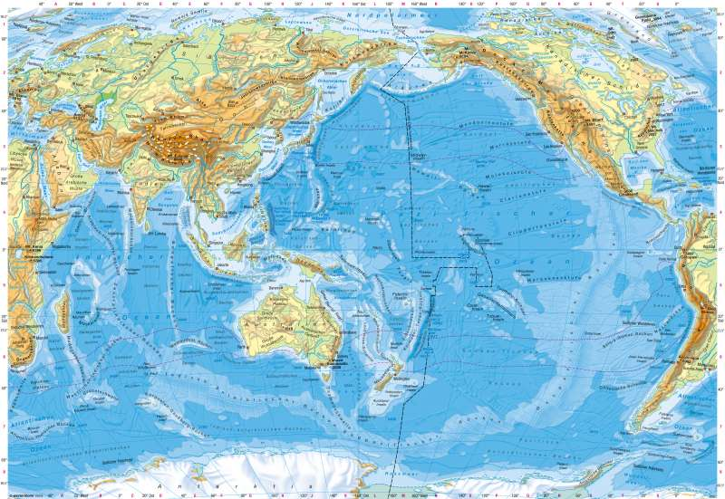 Indischer und Pazifischer Ozean | Physische Übersicht | Indischer und Pazifischer Ozean - Physische Übersicht | Karte 204/1