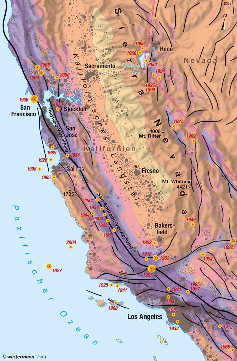 Kalifornien | Erdbeben | Amerika - Physische Übersicht | Karte 207/2
