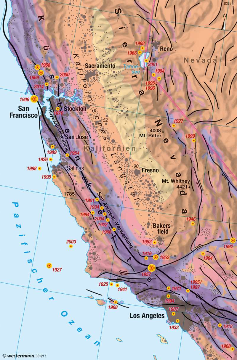 Kalifornien | Erdbeben | Physische Übersicht | Karte 145/2
