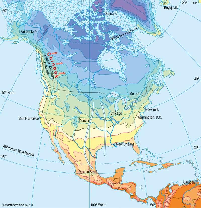 Nord- und Mittelamerika   Temperaturen im Januar   Nord- und Mittelamerika - Klima   Karte 208/1