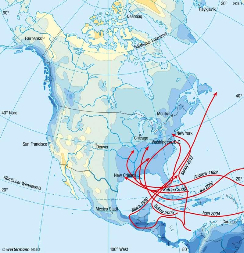 Nord- und Mittelamerika | Niederschläge im Jahr | Nord- und Mittelamerika - Klima | Karte 208/3