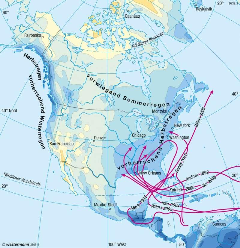 Nord- und Mittelamerika   Niederschläge im Jahr   Klima   Karte 146/3