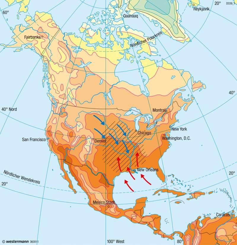 Nord- und Mittelamerika   Temperaturen im Juli   Nord- und Mittelamerika - Klima   Karte 208/2