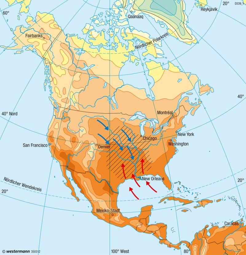 Nord- und Mittelamerika | Temperaturen im Juli | Klima | Karte 146/2