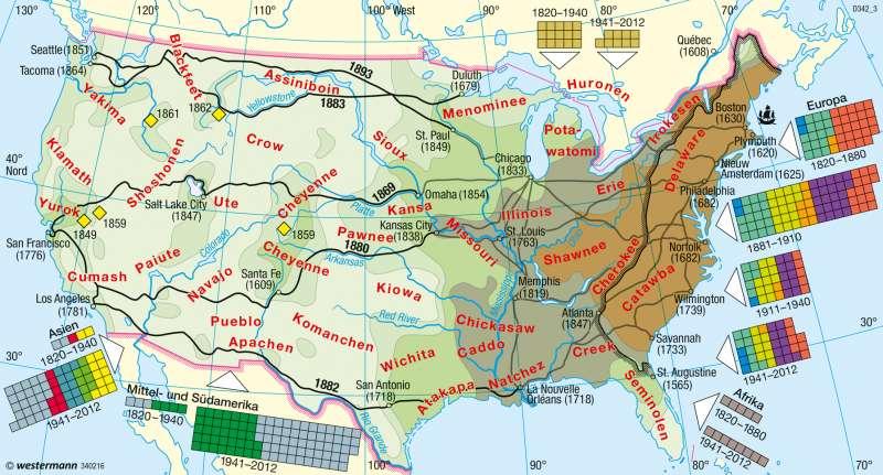USA | Einwanderung/Besiedlung | Bevölkerung | Karte 148/1
