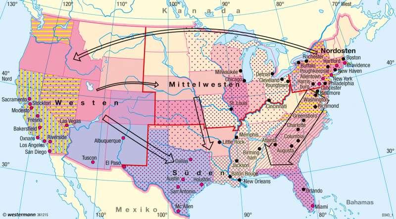 USA | Bevölkerungsgruppen | USA - Bevölkerung | Karte 210/2