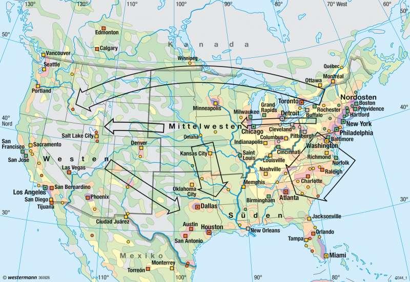 Nordamerika | Bevölkerungsdichte/Wanderungen | USA - Bevölkerung | Karte 210/3