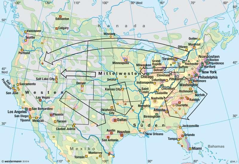 USA, Kanada   Bevölkerungsdichte/Wanderungen   Bevölkerung   Karte 148/3