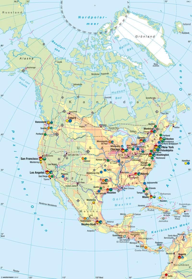 Nord- und Mittelamerika | Wirtschaft | Nord- und Mittelamerika - Wirtschaft | Karte 211/5