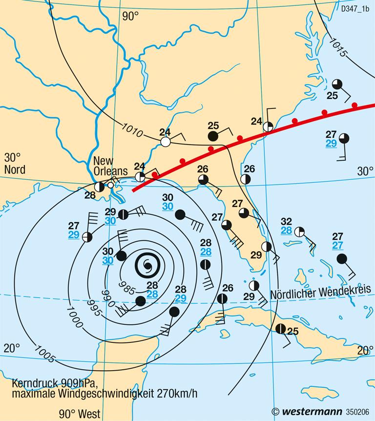 Golf von Mexiko | Hurrikan Katrina | Vereinigte Staaten von Amerika (USA), Kanada - Physische Karte | Karte 213/2