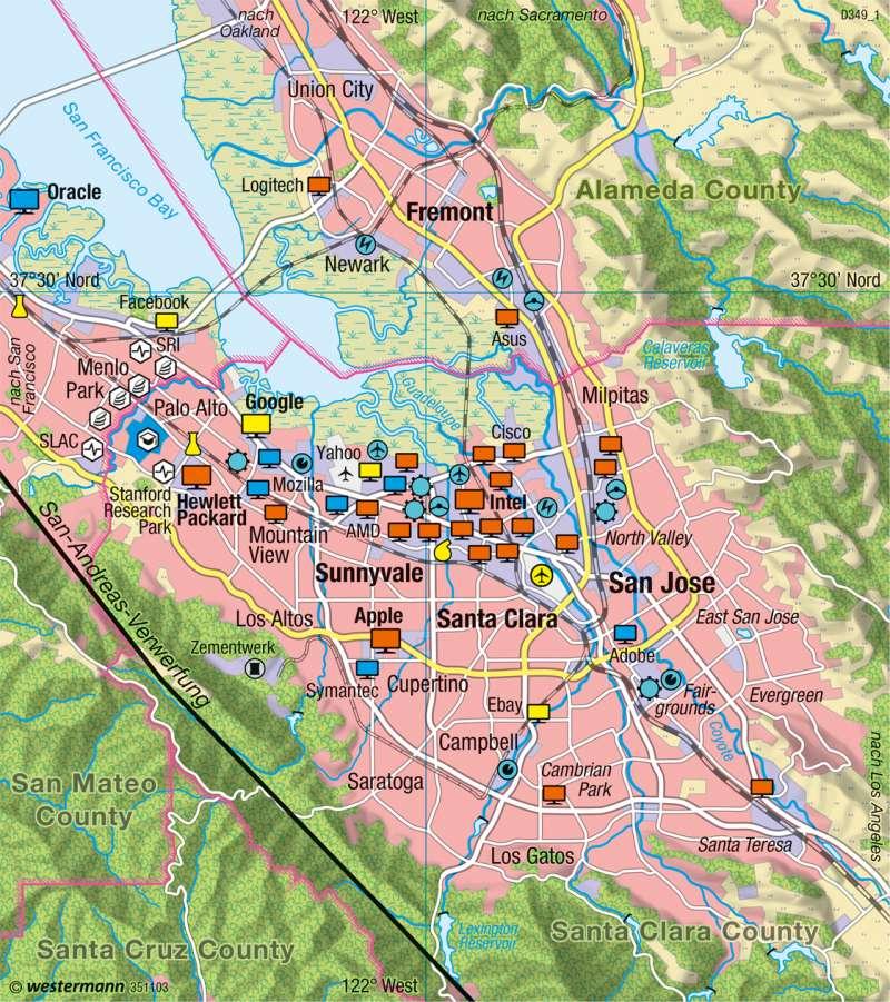 Silicon Valley (Kalifornien) | Informationstechnologie-Cluster | Wirtschaft | Karte 152/2