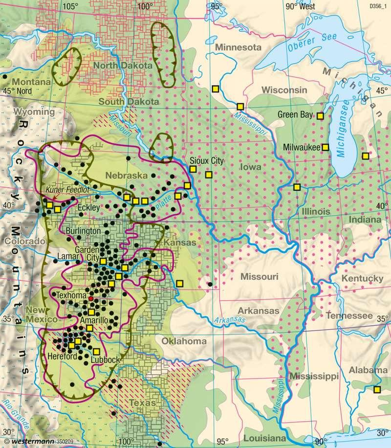 Diercke Weltatlas - Kartenansicht - Great Plains - Landwirtschaft ...